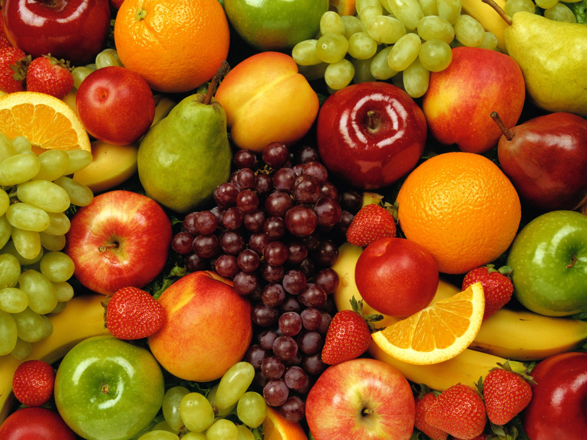 Food - Fruit  Grapes orange (Fruit) Apple Strawberry Wallpaper