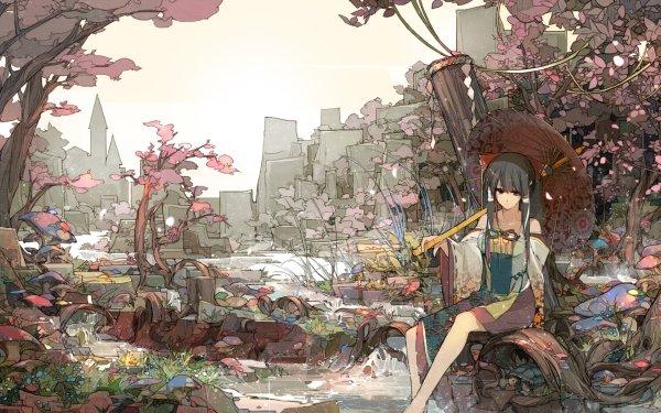 Anime Touhou Umbrella Landscape Original Tree Stream Grass Japanese Clothes Turtle Mushroom Reimu Hakurei HD Wallpaper   Background Image