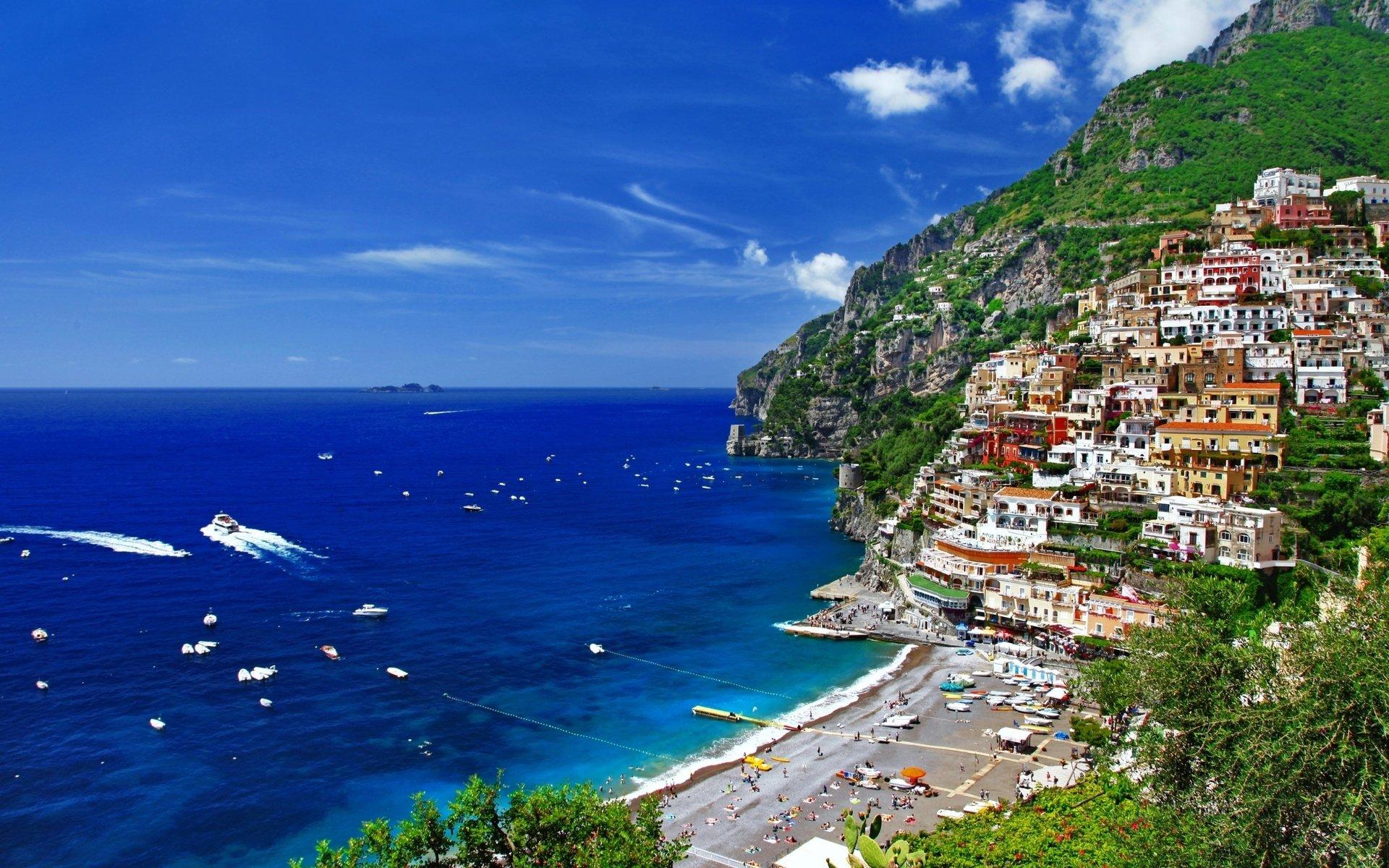 Photography - Scenic  Resort Italy Tropical Ship Boat Sea Ocean Villa Village Town Positano Cliff City Sky Cloud Wallpaper