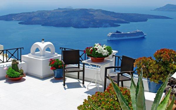 Photography Scenic Aegean Blue Chair Cyclades Greece Greek Island Mediterranean Mykonos Relax Roof Santorini Sea Table Volcano HD Wallpaper | Background Image