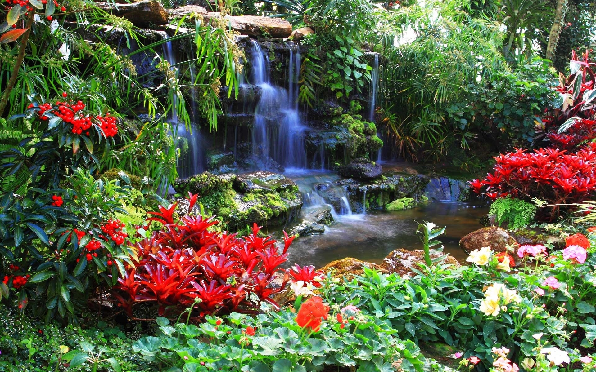 Waterfall full hd wallpaper and background image for Flower garden ponds