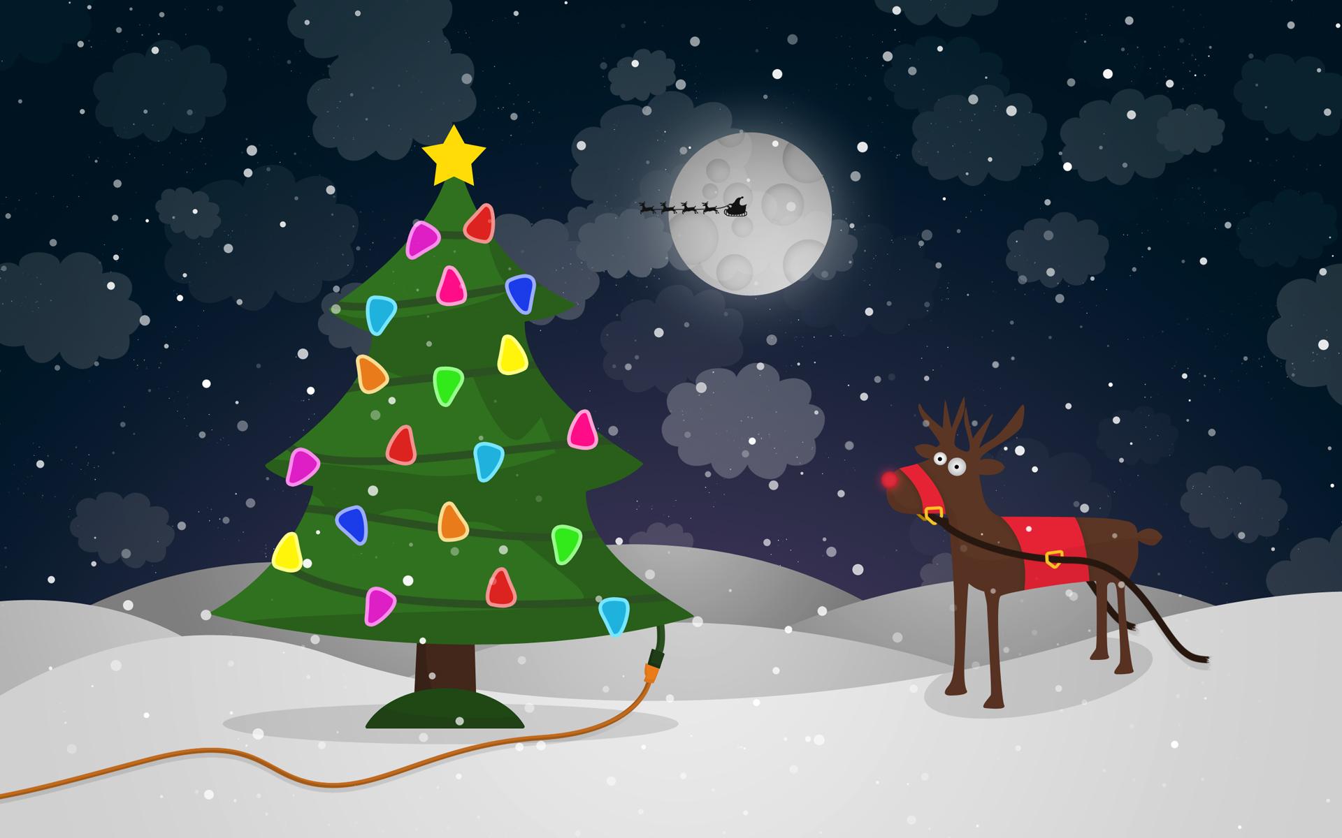 Holiday - Christmas  Christmas Tree Reindeer Humor Wallpaper