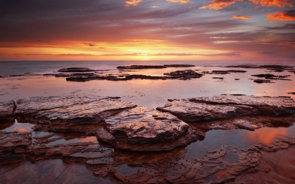 Earth Sunset Ocean Nature Sea Shore Shoreline Coast Coastline Sky Cloud Sunrise HD Wallpaper | Background Image