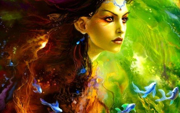 Fantasy Women Mermaid Fish Green Face HD Wallpaper | Background Image