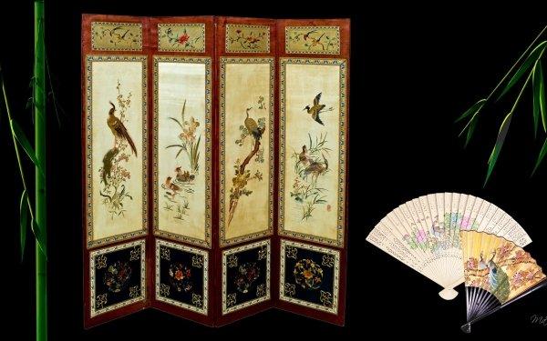 Artistic Oriental Fan Bird HD Wallpaper   Background Image