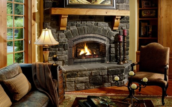 Man Made Room Fireplace Chair Lamp HD Wallpaper   Background Image