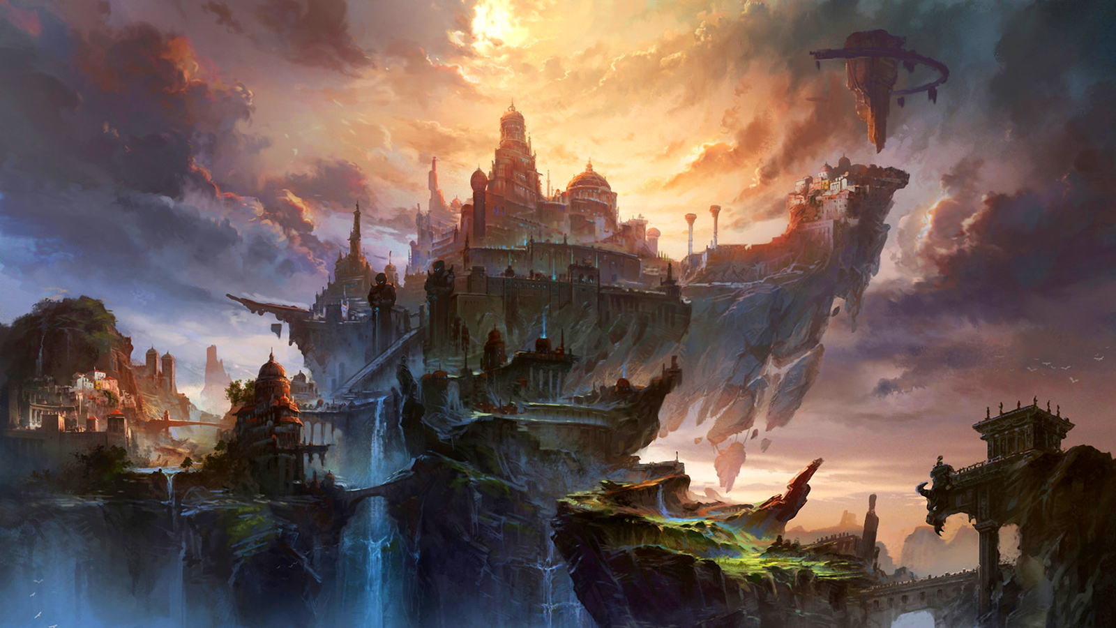 Water dragon wallpapers wallpaper cave - The City In The Clouds Wallpaper And Background 1600x900
