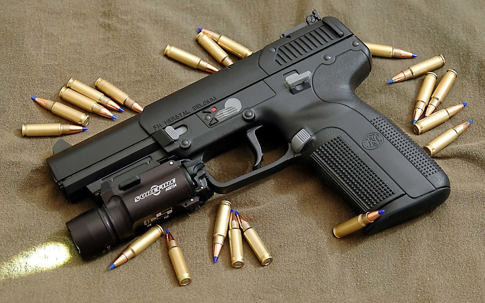 Weapons - Fn Five-Seven Pistol  Fabrique Nationale Five-Seven Surefire Light Handgun Pistol Magnum Wallpaper