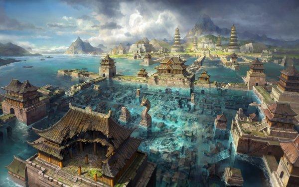 Fantaisie Ruine Eau Flooded Fond d'écran HD | Arrière-Plan