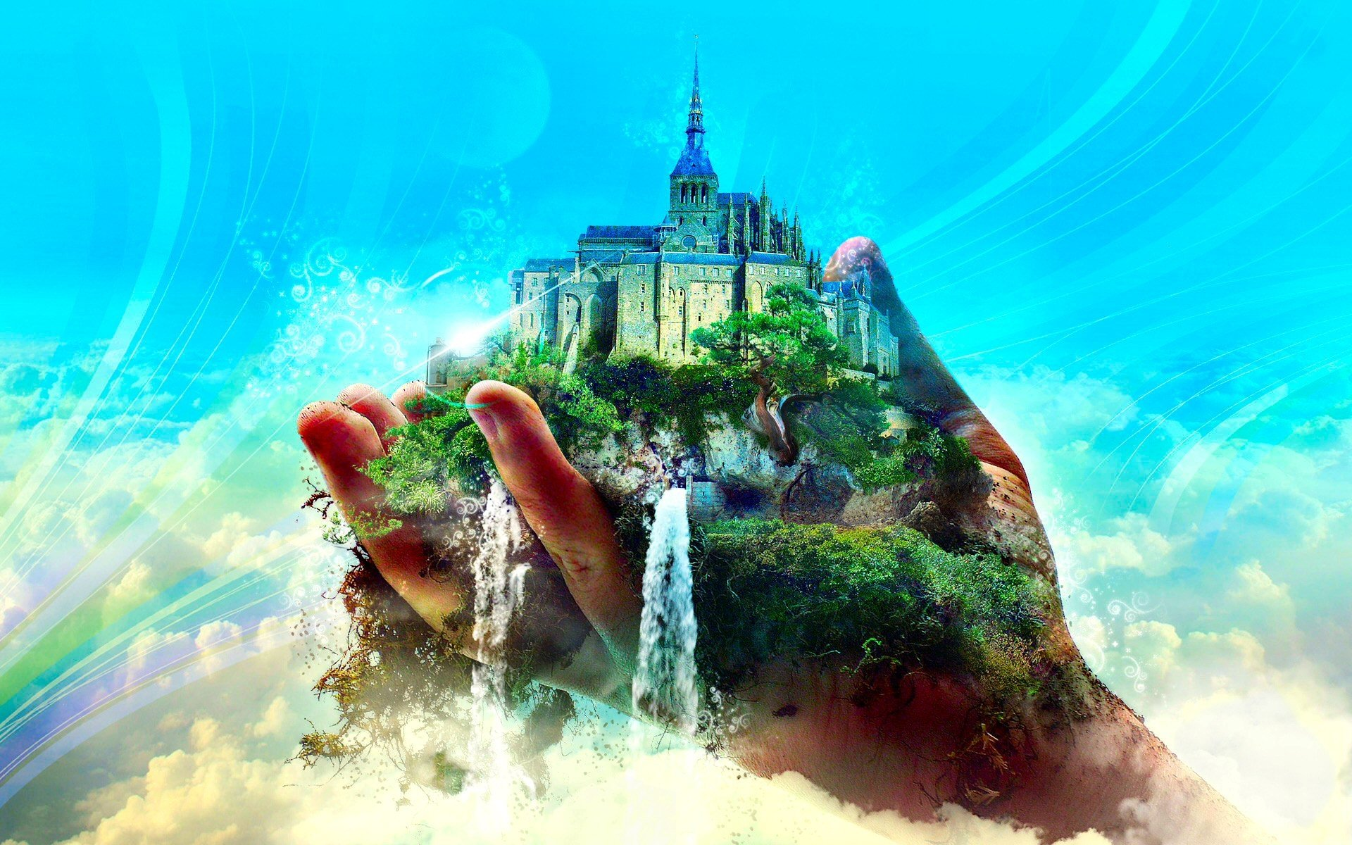 Fantasy - Artistic  Fantasy City Cloud Castle Blue Sky Wallpaper