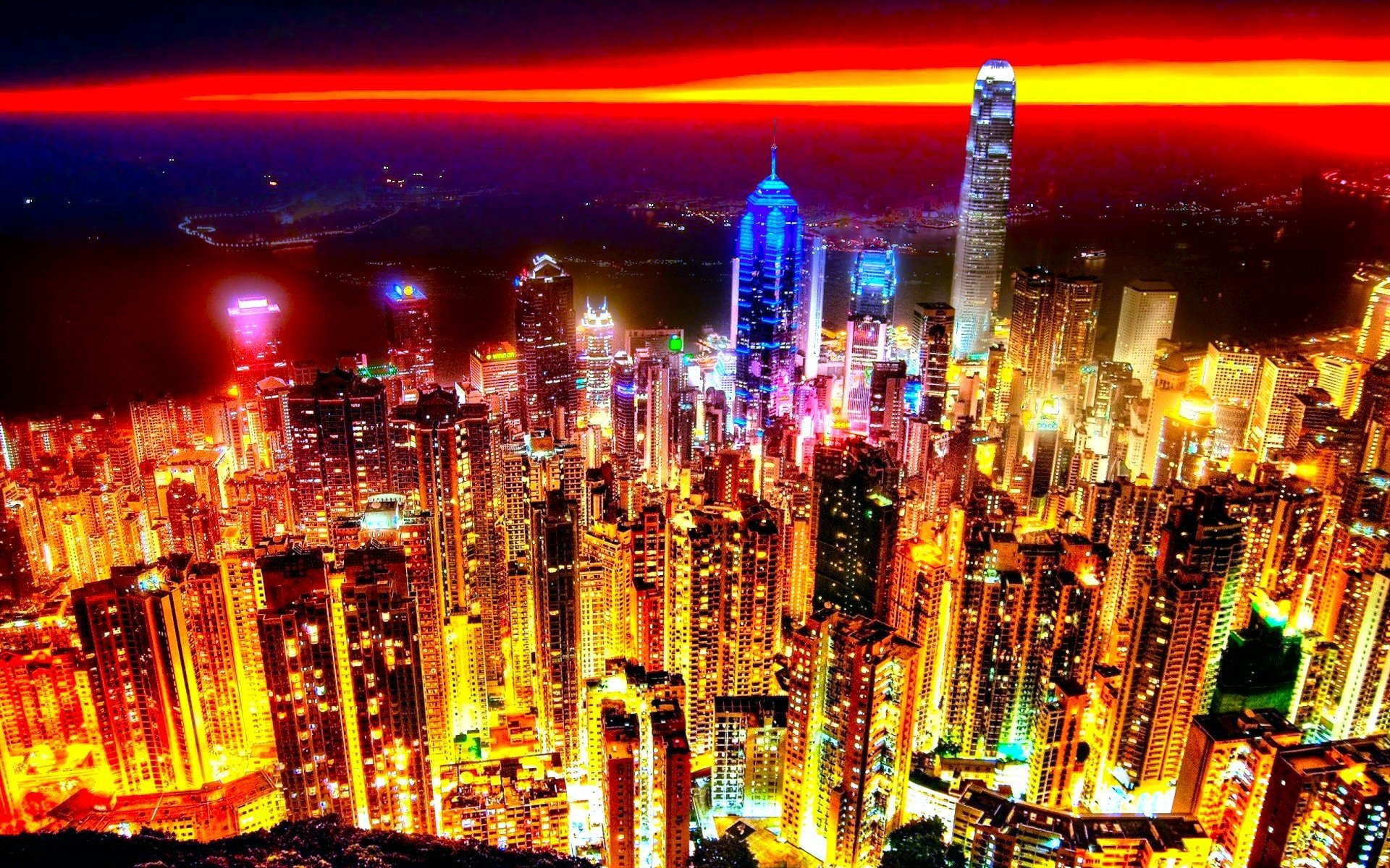 Earth - Sunset  Horizon City Hong Kong Wallpaper