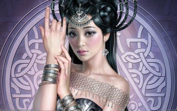 Fantasy Women Asian Silver Black HD Wallpaper | Background Image