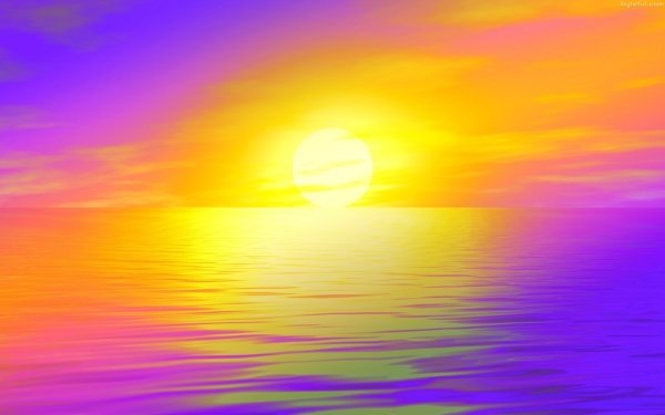 Artistic Sunset Sun Colors Abstract Yellow Purple HD Wallpaper | Background Image