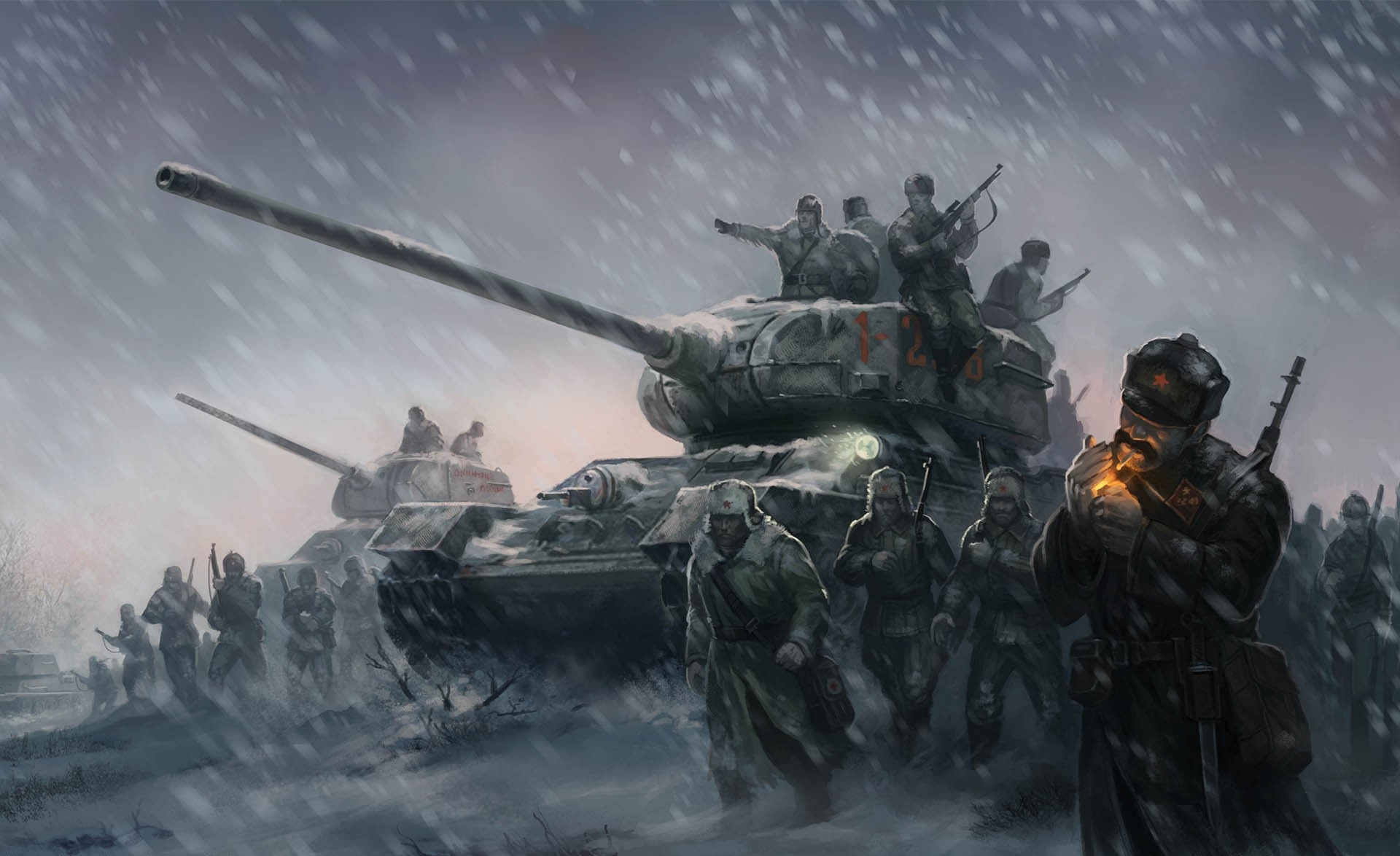 Two t 34 85s with a small group of infantry wait in the snow hd wallpaper background image - Awesome army wallpapers ...