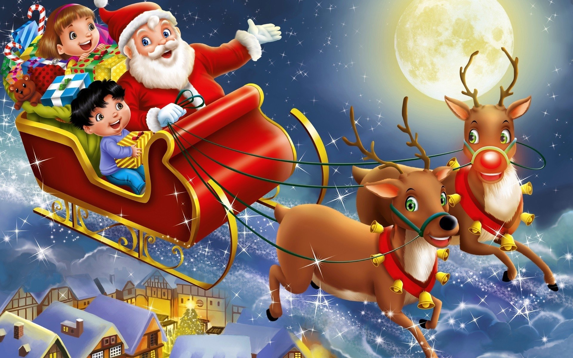 Holiday - Christmas  Gift Child Reindeer Sleigh Santa Wallpaper