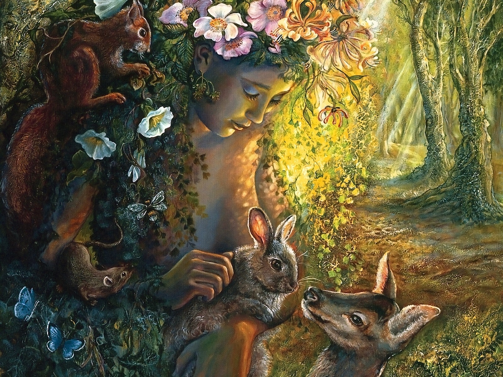 Fantasy - Women  Fantasy Woman Girl Rabbit Deer Squirrel Animal Wallpaper