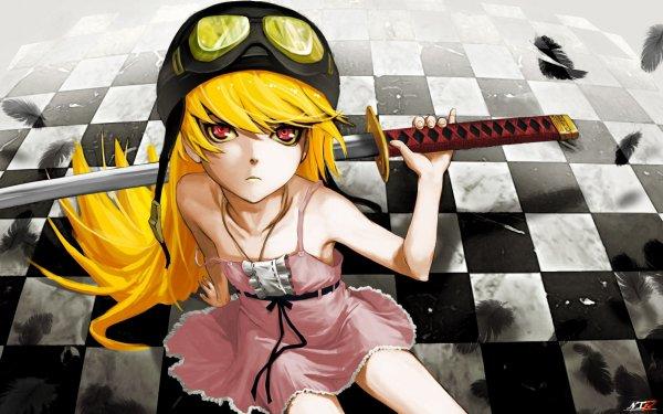 Anime Monogatari (Series) Shinobu Oshino Katana Blonde Yellow Eyes Aviator Helmet Fond d'écran HD   Image