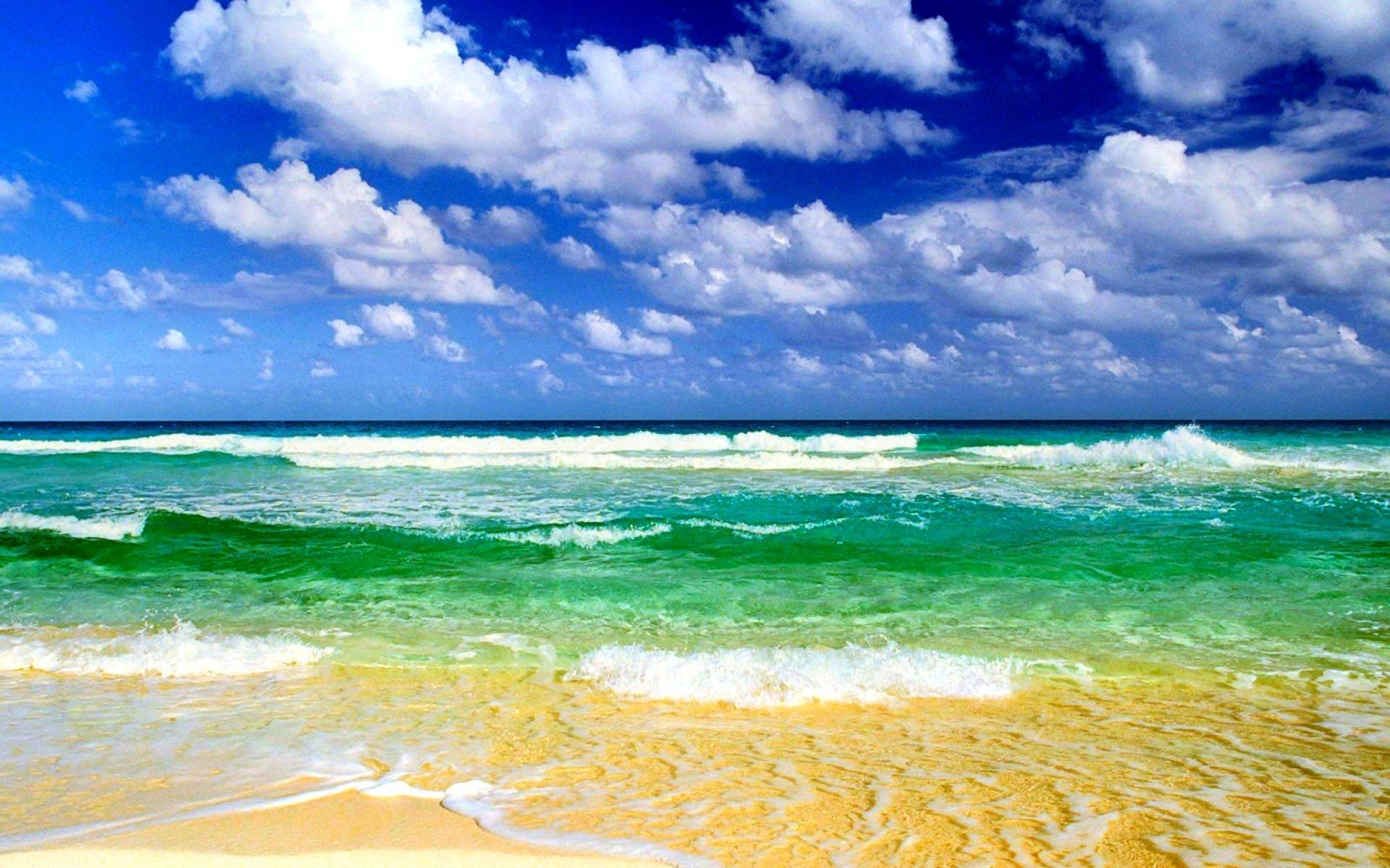 Earth - Beach  Wave Horizon Sea Cloud Summer Sunny Wallpaper