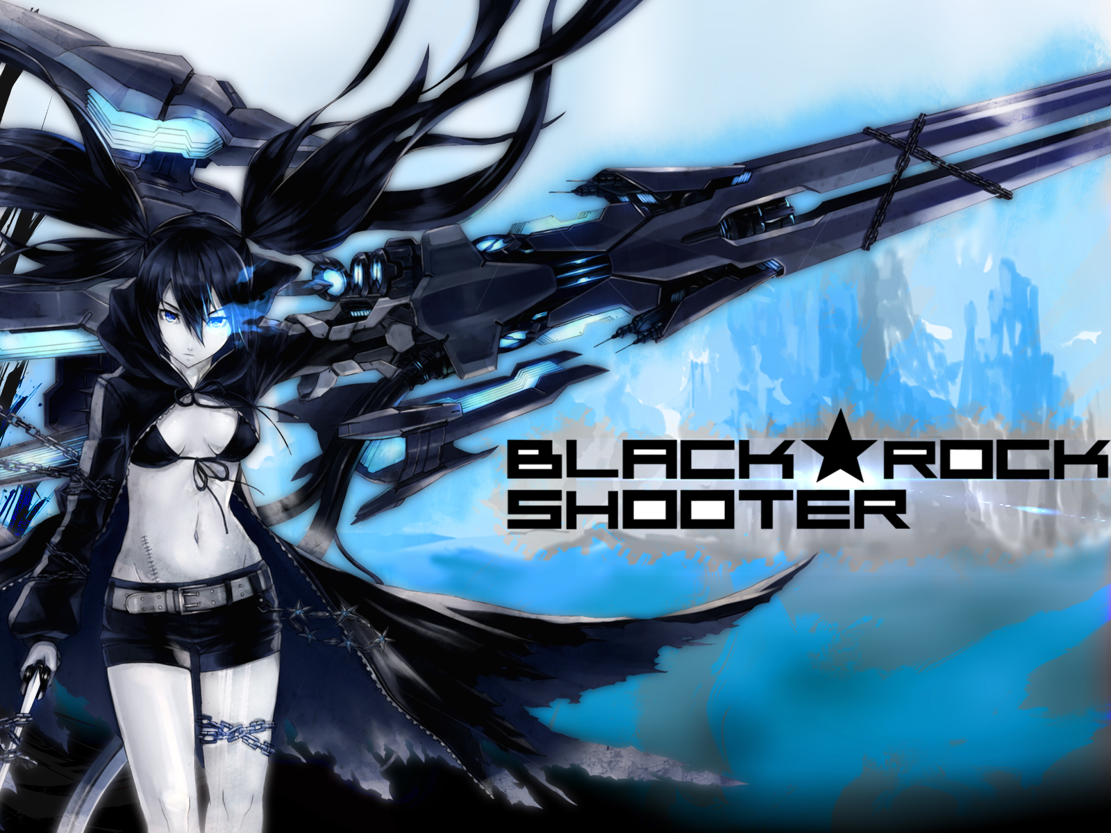 Black rock shooter blue death wallpaper and background - Anime wallpaper black background ...