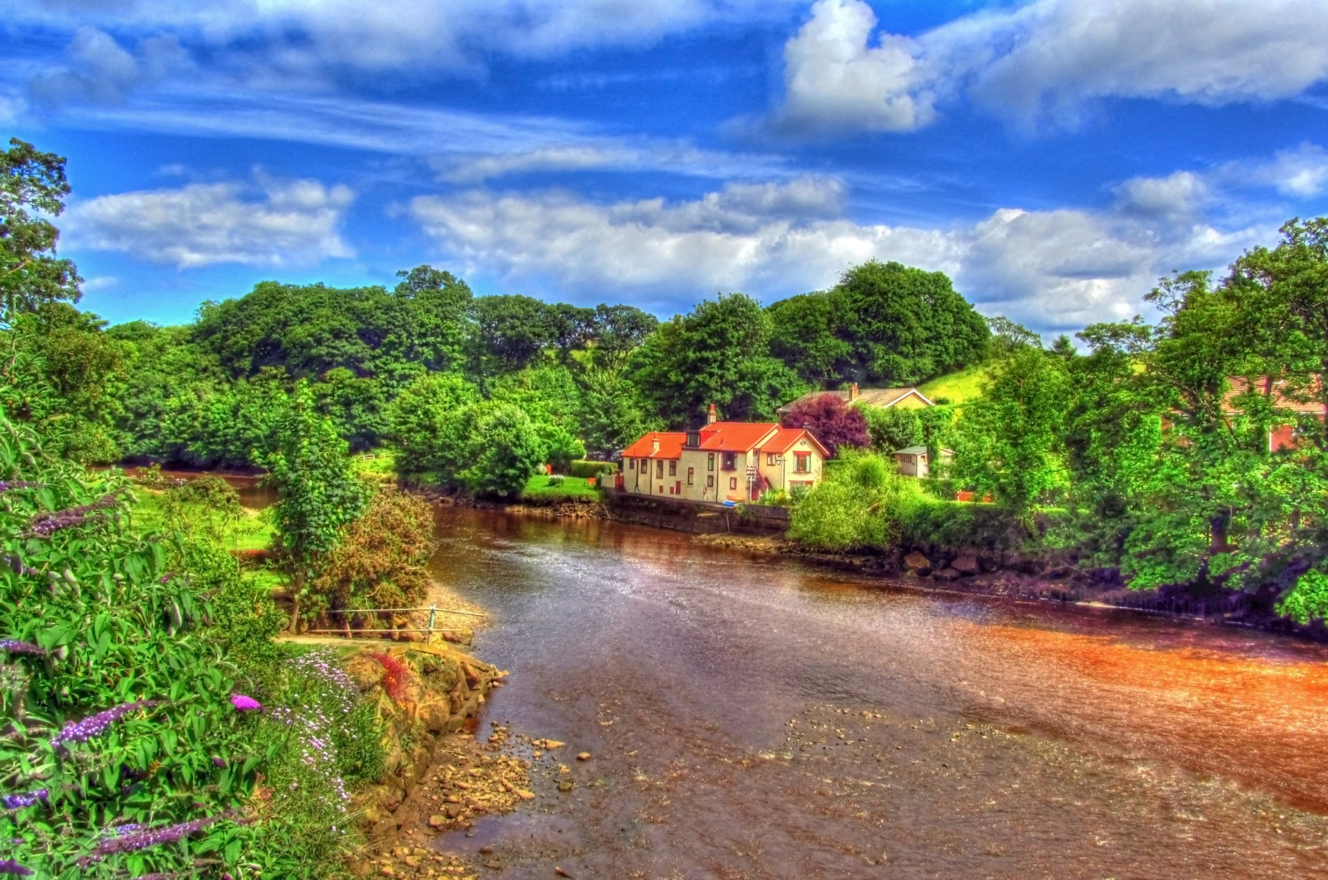 Photography - HDR  Scenery Landscape River House Tree Sky Blue Green Cloud Wallpaper