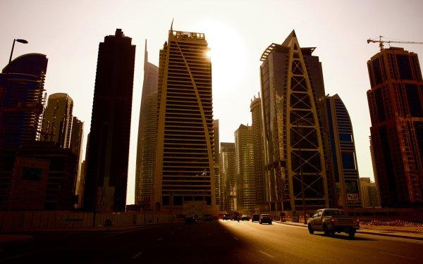 Man Made Dubai Cities United Arab Emirates City Road Highway Car Skyscraper HD Wallpaper | Background Image