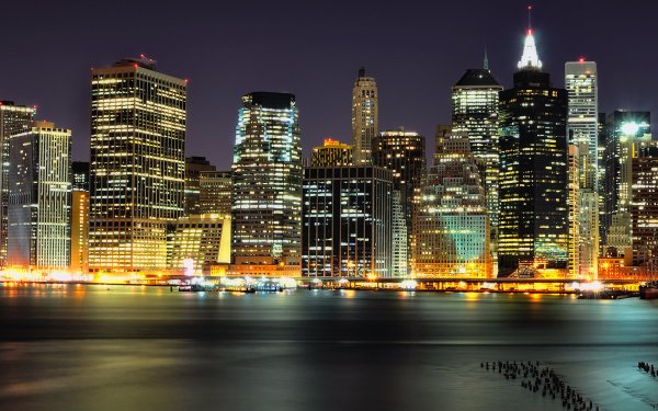 Man Made Manhattan Cities United States City Night Skyline New York HD Wallpaper   Background Image