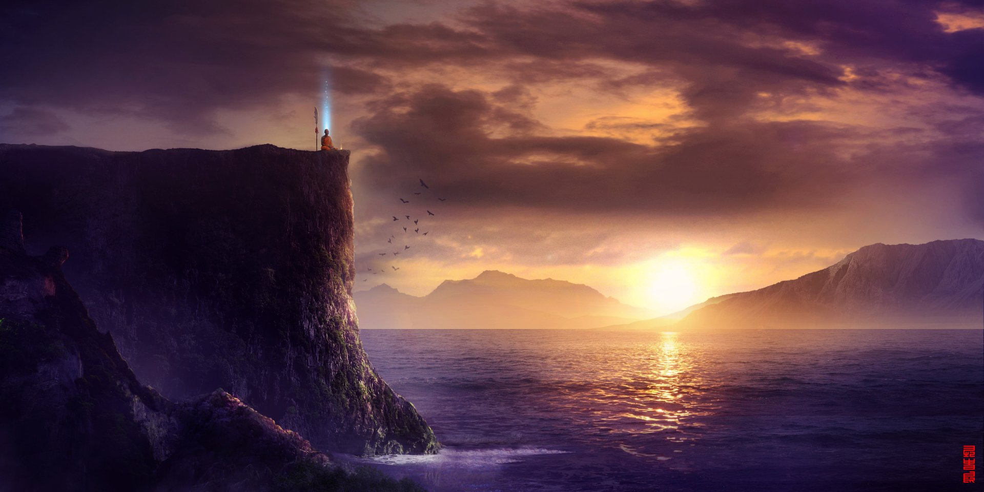 Fantasy - Landscape  Sunset Rock Sea Meditation Monk Wallpaper