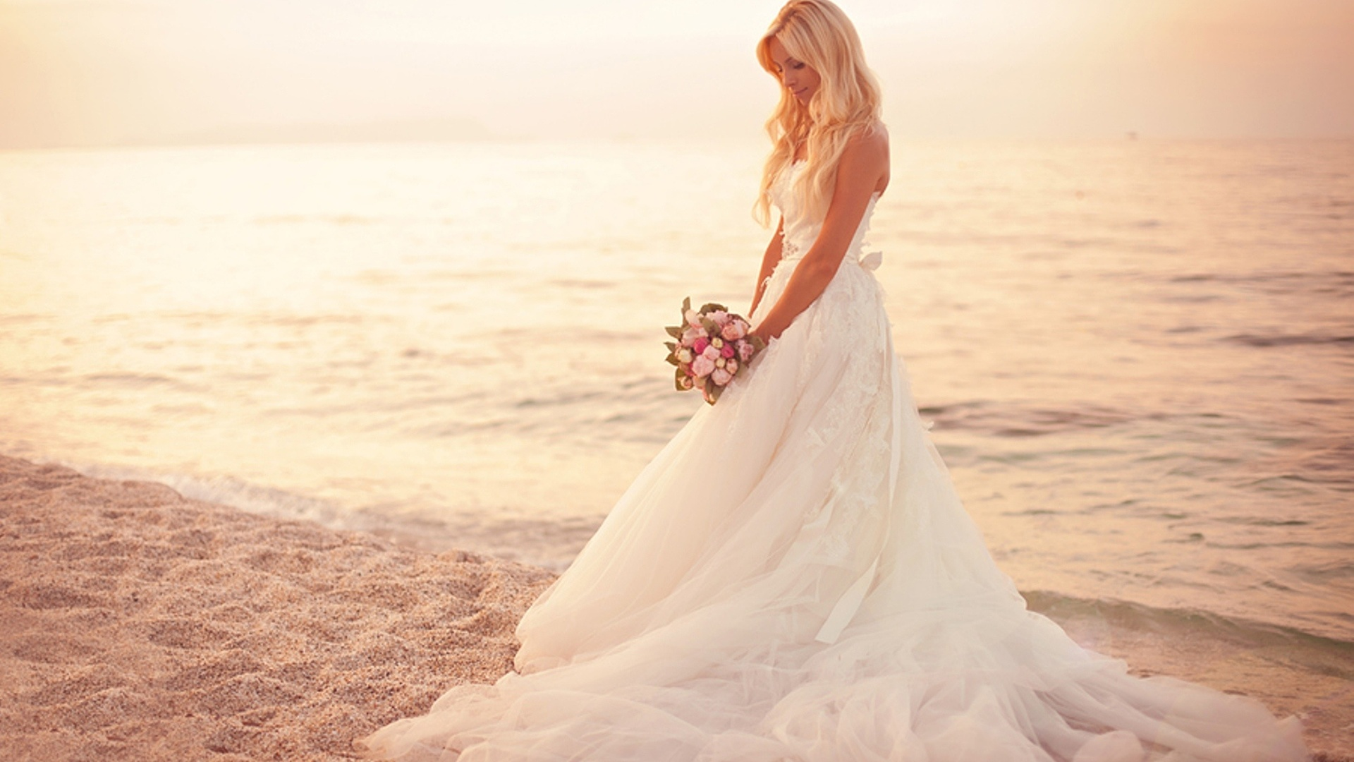 Stunning Wedding Dresses In Beige And Blush: Bride Full HD Wallpaper And Background Image