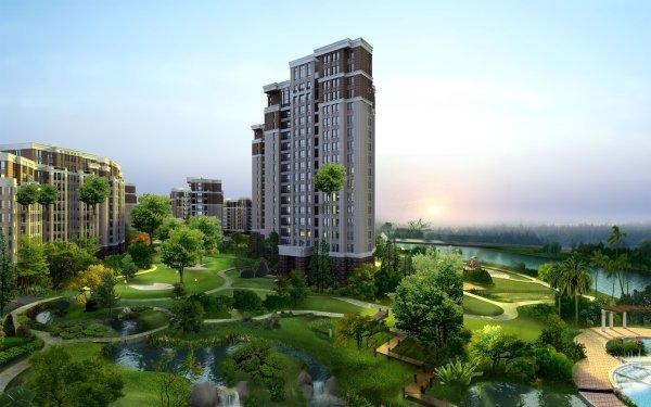 Artistic Building Buildings 3D Digital Art CGI Green Design Architecture HD Wallpaper | Background Image