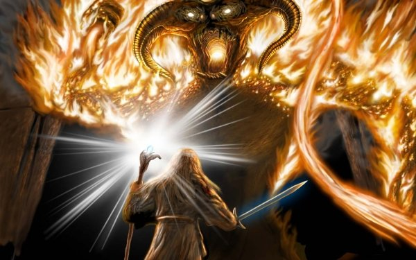 Fantasy Lord of the Rings The Lord of the Rings Balrog Gandalf HD Wallpaper | Background Image