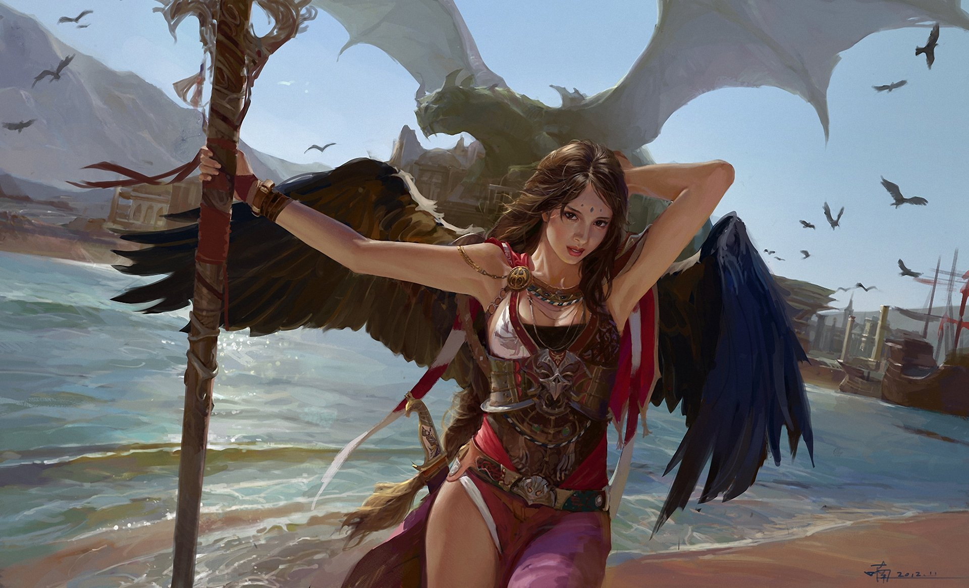 Fantasy - Women  Fantasy Woman Girl Angel Dragon Angel Warrior Wings Staff Ocean Wallpaper