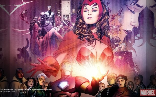 Comics Avengers: The Children's Crusade The Avengers Scarlet Witch Iron Man Vision Wiccan Speed Hulkling Kate Bishop Spider-Man Magneto Quicksilver Captain America Patriot HD Wallpaper | Background Image