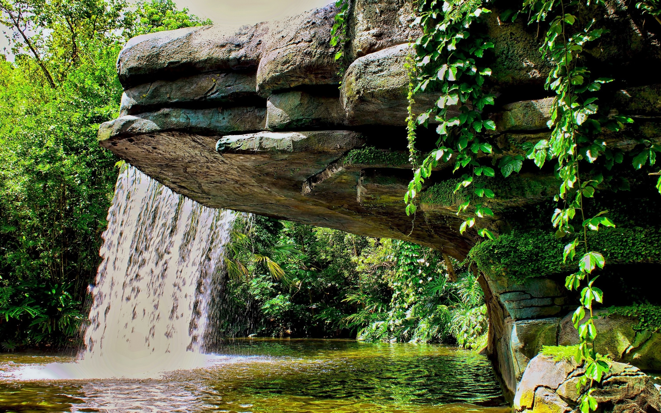 Waterfall full hd wallpaper and background image for Cascadas de jardin