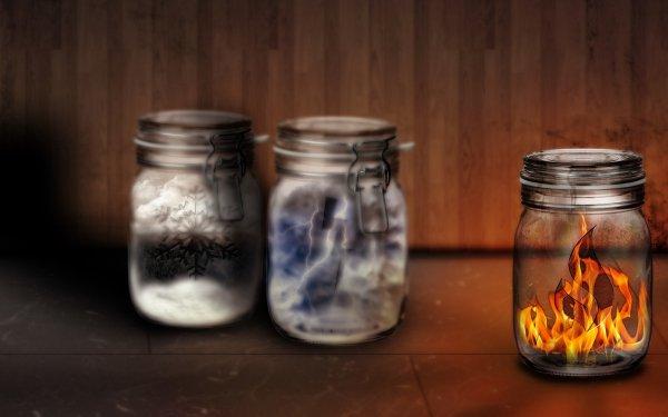 Fantaisie Elemental Feu Snow Glace Eclair Jar Mystical Fond d'écran HD | Image