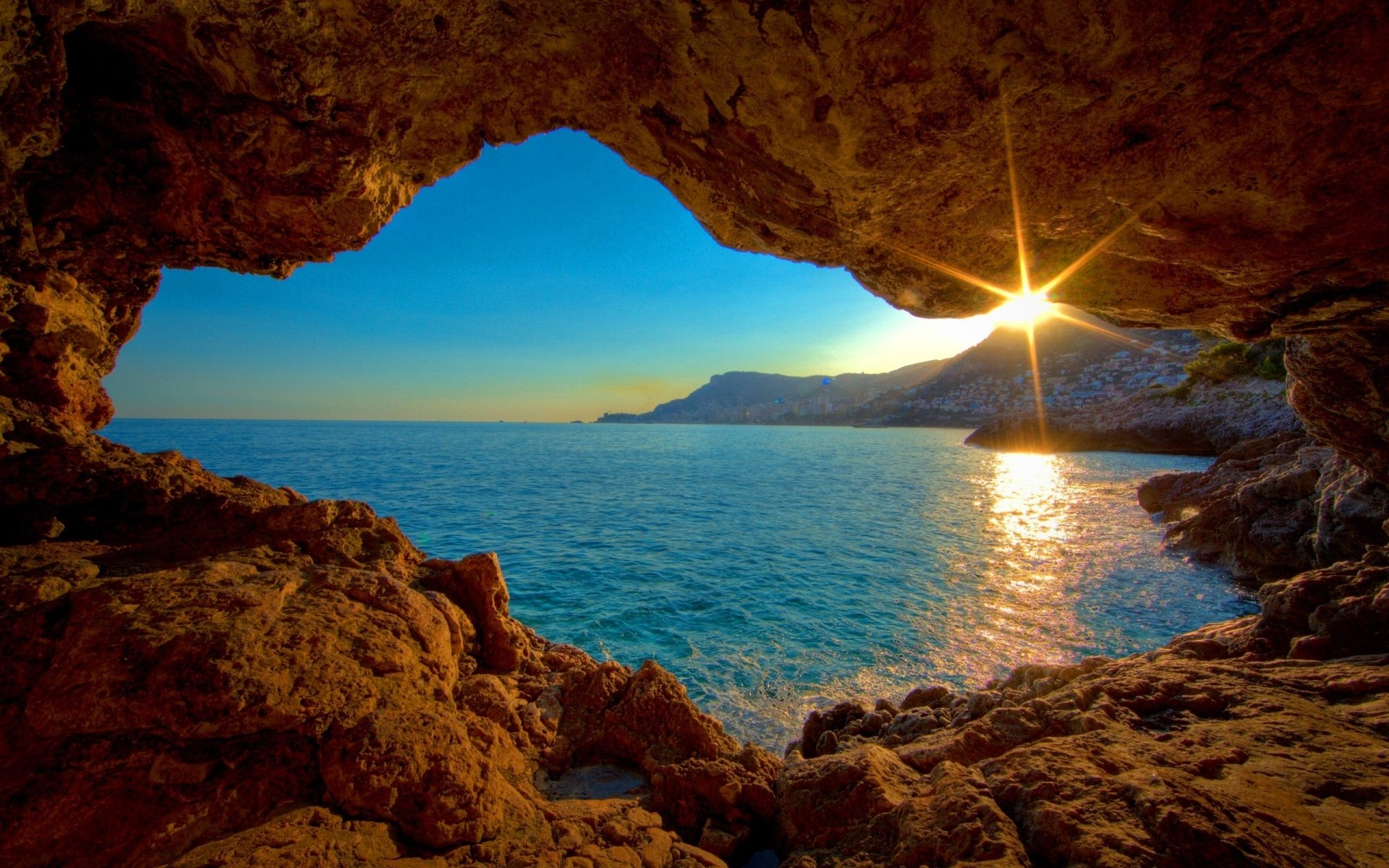 Earth - Ocean  Nature Landscape City Mountain Moon Sun Sunset Sunlight HDR Monaco Wallpaper