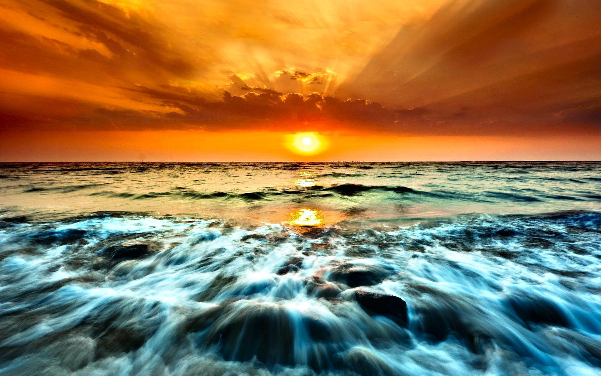 Photography - Sunset  Horizon Cloud Sky Ocean Wave Beach Wallpaper
