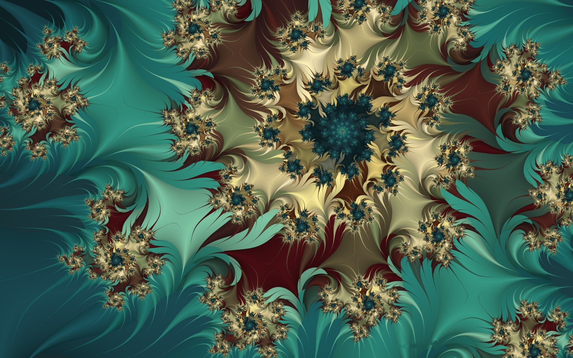 Abstract - Fractal  Turquoise White Maroon Blue Colors Swirl Abstract Wallpaper