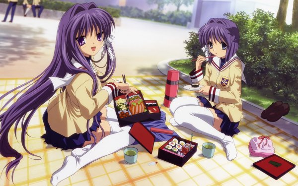 Anime Clannad Ryou Fujibayashi Kyou Fujibayashi Sitting Skirt Thigh Highs HD Wallpaper | Background Image