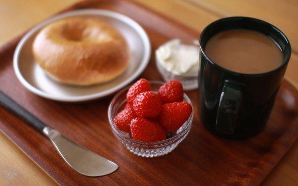 Alimento Desayuno Bodegón Café Mug Fresa Bagel Fondo de pantalla HD | Fondo de Escritorio