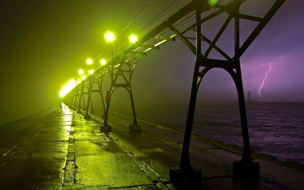 Man Made Bridge Bridges Lightning Light Place Water HD Wallpaper | Background Image