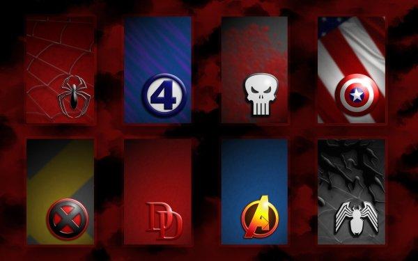 Bande-dessinées Collage Spider-Man Les 4 Fantastiques Punisher X-Men Daredevil Les Vengeurs Venom Captain America Fond d'écran HD   Image