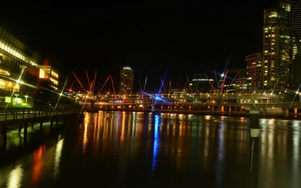 Man Made Brisbane Cities Australia City Light Building Reflection Kurilpa Bridge HD Wallpaper | Background Image