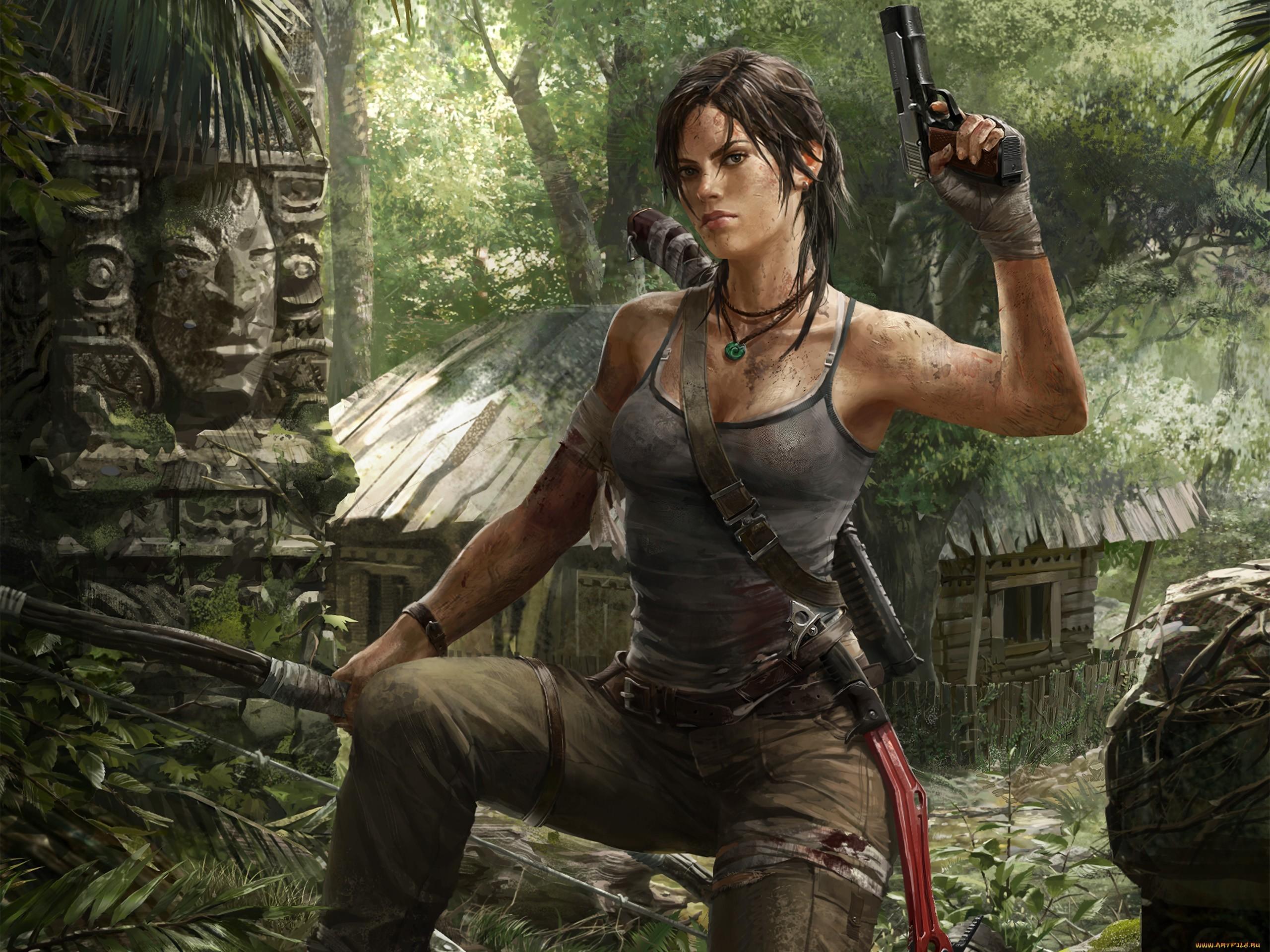 Обои девушка лук стрела Tomb Raider Лара Крофт тетива