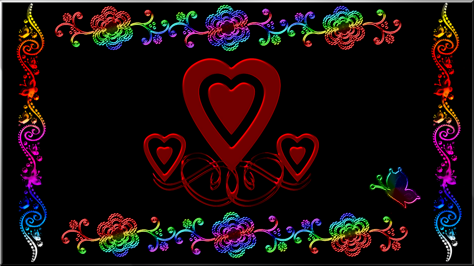 Artistic - Love  Black Abstract Heart Butterfly Colors Wallpaper