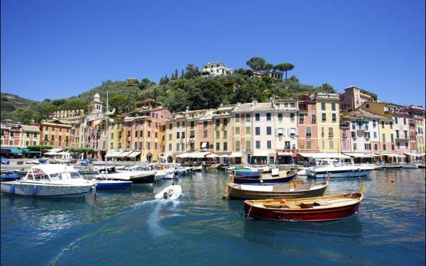Man Made Portofino Towns Italy Coast Rio Magiorri House Boat Village HD Wallpaper | Background Image