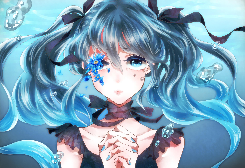 Anime Girl Cutting Herself Vocaloid Full HD Wallp...