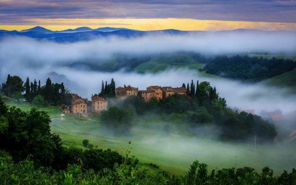 Fotografía Toscana Italia Montaña Campo Hill Casa Niebla Fondo de pantalla HD | Fondo de Escritorio