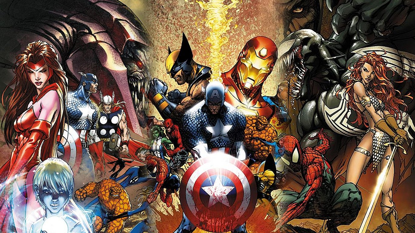 Comics - Civil War  Superhero Scarlet Witch Captain America Wolverine Thor The Thing (Marvel Comics) Spider-Man Daredevil Mister Fantastic Wallpaper