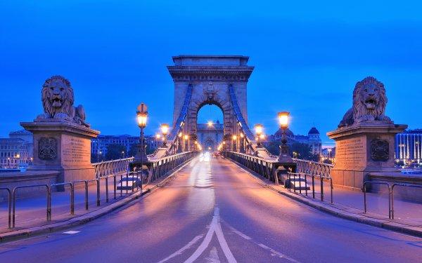 Man Made Chain Bridge Bridges Budapest Hungary HD Wallpaper | Background Image
