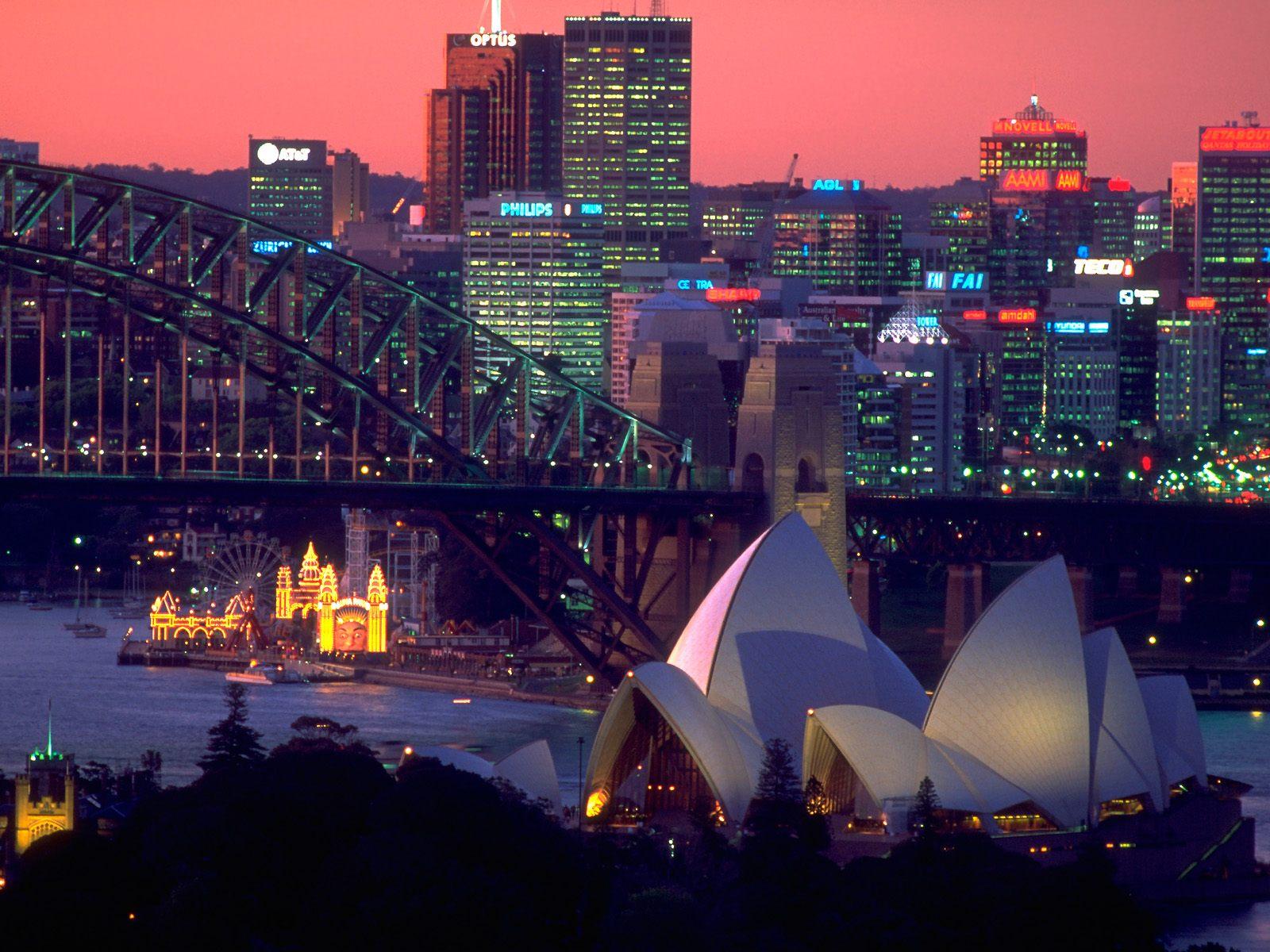 Обои Здание оперного театра в сиднее, ночь. Города foto 17